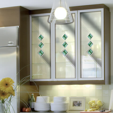 Fused Glass Tile Kitchen Cabinet